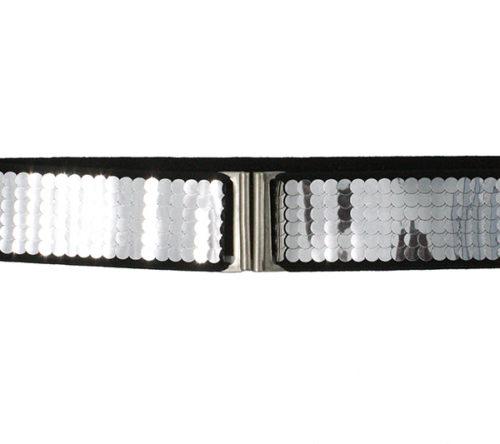 cinturón lentejuelas plata