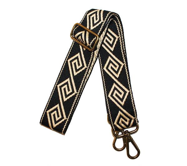 cinta bolso negra greca beige