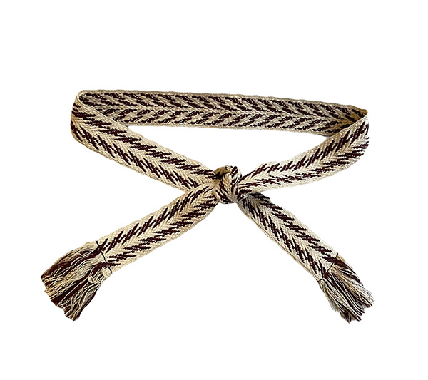 Off white and brown flash knot belt