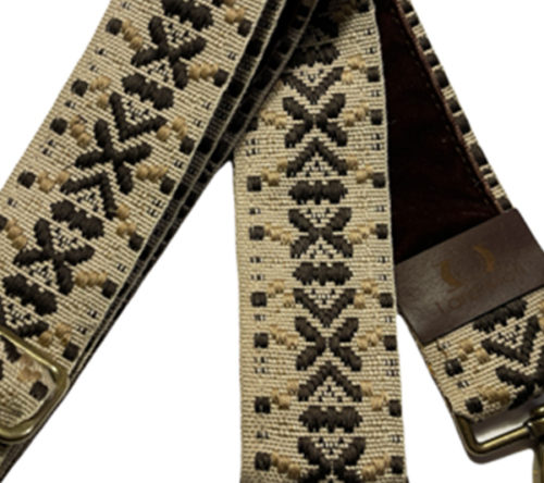 Brown and beige star bag strap